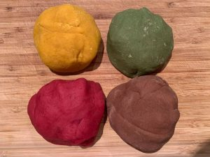 Homemade Play Dough with natural colouring